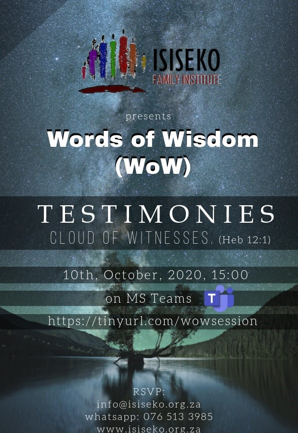 Words of Wisdom - Testimonies (Cloud of witnesses, Heb 12:1)